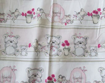 A gorgeous piece of fabric printed rabbit mouse bear