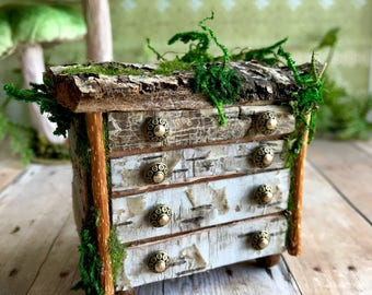 Miniature fairy dresser, Fae chest of drawers, woodland furniture