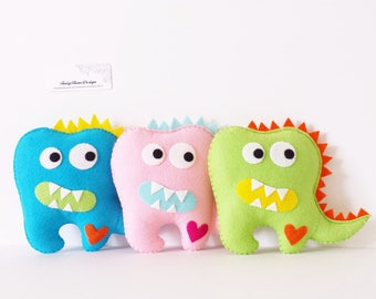 Tooth Fairy Pillow – Boys Tooth Fairy Pillow – Personalized Tooth Pillow - Dinosaur Plush – Teeth Fairy – Lost Tooth - Gifts Under 30