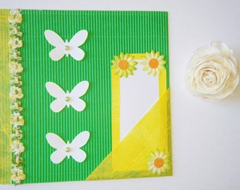 Green and yellow card with 3 butterflies and small removable Word