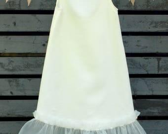 Linen Dress For Girls, Gift Idea, 2017 Trend, Birthday Gift, Ruffles, Dress outfit,Original gift,Natural Clothing, Toddler, Italian Linen