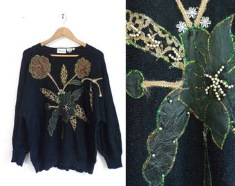 80s Floral Sweater Black Flower Patter Sweater Dolman Sleeves Beaded Lace Embellished 1980s Acrylic Sweater Womens Jumper Large