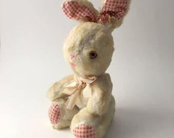 Vintage white stuffed bunny, gingham ear bunny, white easter bunny, vintage easter bunny, vintage plush bunny, white stuffed rabbit, easter