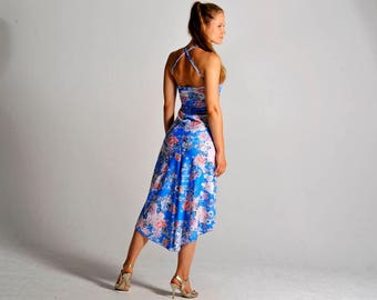 LUCERO flow dress in sky blue print - sizes XS/S/M