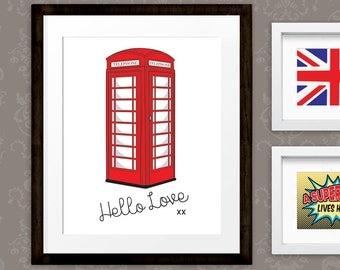 London Print, British Telephone Box art, Phone Booth Wall Art Printable,  Retro Poster, INSTANT DOWNLOAD