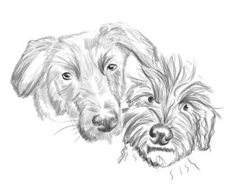 Pet Portrait! Hand-Drawn Personalised Digital Illustration - BLACK AND WHITE