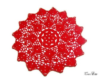 Crochet Christmas Doily, Red Doily, Centrino Natale