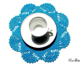 Small Turquoise crochet doily, Centrino piccolo turchese all'uncinetto