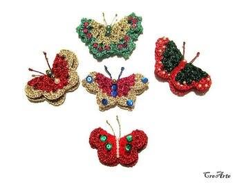 Christmas crochet butterflies, crochet butterfly appliques, Farfalle applicazioni Natale