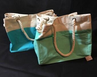 Nice big tote bags with rope handles.