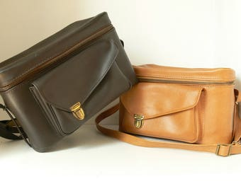 Vintage Brown Leather Camera Bag / Case With Red Interior - Nice and Compact - 2 Available