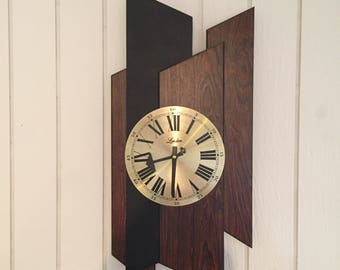 Vintage Modern Wall Clock Mid Century Abstract Architectural