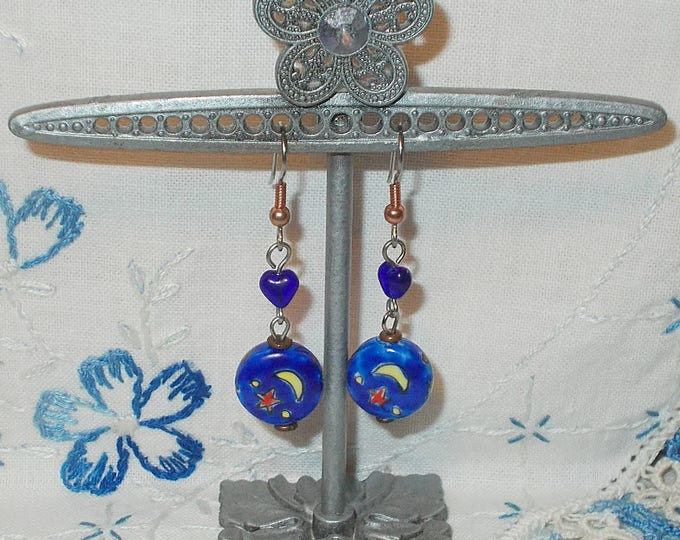 Boho Hippie Chic Red Heart Cobalt Blue Crescent Moon Stars Ceramic Glass Bead Copper Stainless Steel Dangle Drop Earrings