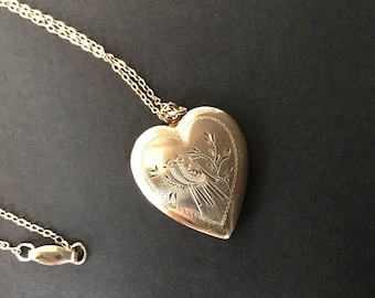 "For J: Antique 12K gold filled on sterling silver heart picture locket 16"" chain necklace love birds doves wedding gift victorian"