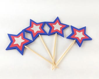 4th of July Cupcake Toppers - Set of 12 Cupcake Toppers - Fourth of July Party Decor - Red White and Blue Cake Toppers - Star Toppers