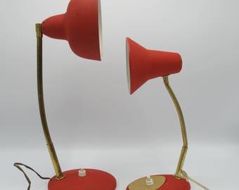 Desk lamp mid-century, French vintage lamp, red lamp 1960, Lampe de bureau vintage 1950, lampe articulée granitée rouge et or de bureau,