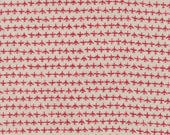 Moda FLIGHT Quilt Fabric 1/2 Yard By Janet Clare - Aeroplanes Cream/Red 1410 14