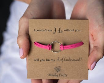 Chief bridesmaid gift - will you be my chief bridesmaid - eternity bracelets - gifts for her - i couldnt say i do without you - gifts under