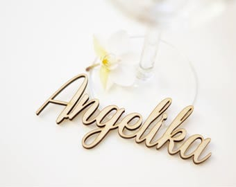 Name tags, wood, wooden lettering, place cards, name cards, laser cut, table cards, name lettering, name, wedding, 30 pieces