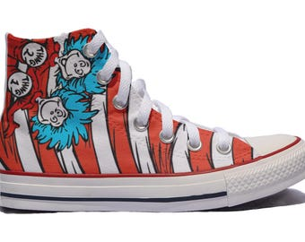 Cat in the hat custom converse / thing 1 thing 2 / custom shoes / sneakers Dr. Seuss