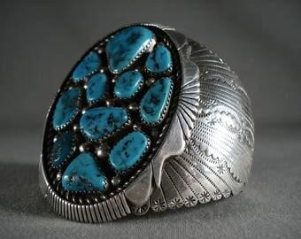 Huge Vintage Navajo 'Silver Sheild' Turquoise Nugget Bracelet Old