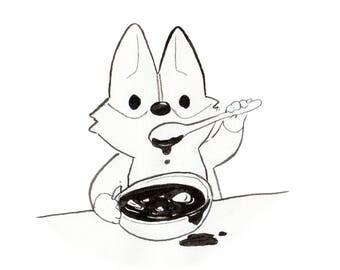 Corgi eating soup print