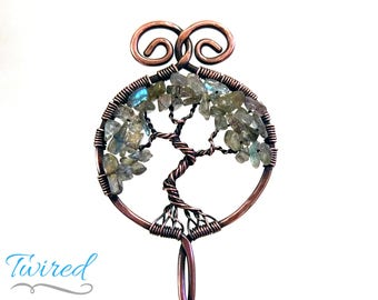 "Labradorite and Antiqued Copper Tree of Life Hair Stick (6"" Stem)"