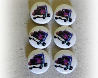 6 buttons round wood truck 15 mm