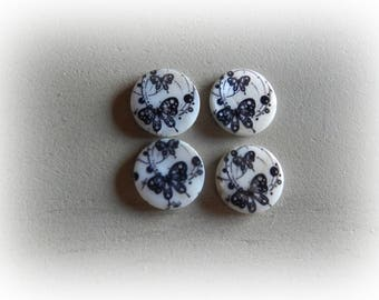 4 shell motif Butterfly 20 mm round beads