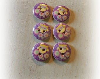 6 buttons wood OWL / OWL wooden 15 mm