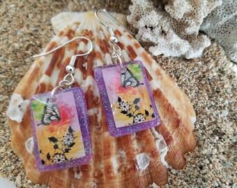 Resin Earrings, Purple Resin Earrings