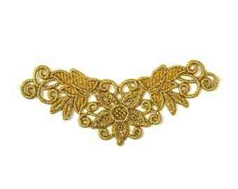 Gold Lace Applique, Venise Lace Motif, Tutu Decoration, Lace Trim, Dance Costume Embellishment, #51