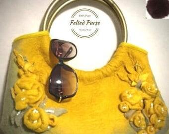 ON SALEcij 20% off Felt Handbag, Mustard Rose, Resort Style Purse. Needle Felted Purses.