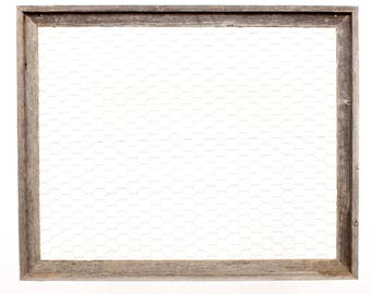 BarnwoodUSA Chicken Wire Photo or Message Board - 10 Clothes Pins Included - 100% Up-Cycled Reclaimed Wood Frame