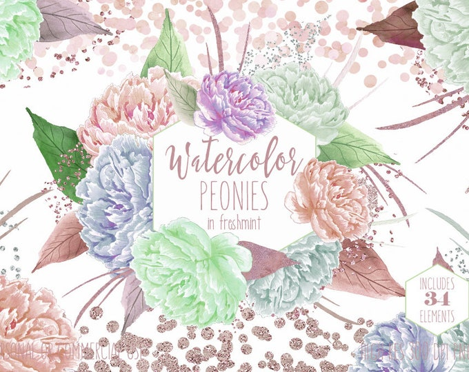 WATERCOLOR PEONY FLORAL Clipart Commercial Use Clip Art Rose Gold & Mint Peonies with Metallic Confetti Watercolour Flowers Wedding Graphics