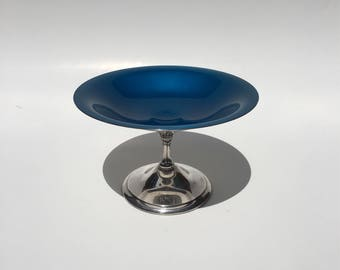 Reed & Barton Silver Plated Pedestal Candy Dish, Reed and Barton Blue Enamel Footed Dish, Vintage Mid Century Reed and Barton Blue Compote