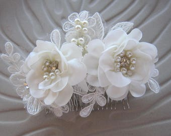 Lace Bridal Headpiece/Ivory Flower Comb, Wedding Hairpiece, Wedding Flower Hair Comb, Wedding Hair Accessories, Bridal Hair Accessory,