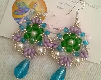 Earrings with crystals, synthetic pearls and superduo