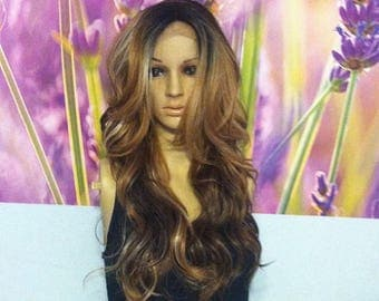 Ombré mixed browns with blond highlights lace  front wig 24'' CURLY