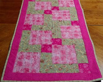 Pink and Green Quilted Table Runner