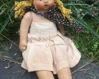 Original 1930s Lenci-type cloth doll with wind up - 15 inches tall (approx)