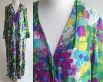 70s Green Purple Yellow Blue Floral MuuMuu Dress with Sheer Sleeves - 1960s Floral Maxi Dress with Belt - Floral Kimono Dress - Size Large