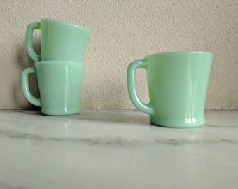 3 Fire King Jadeite D Handle Coffee Mugs, Vintage Jadeite Shaving Mugs Cups, Fire King Collectible Glassware, Green Milk Glass