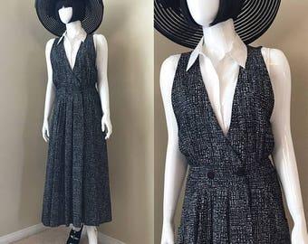ON SALE 80's Nu Wave Jumper Dress, Black/White Checked Jumper, R J Stevens Cross Body Sleeveless Dress Summer Long Dress - size 10