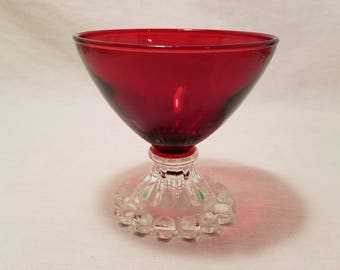 RED RUBY SHERBET Parfait Red Bubble Burple Boopie Berwick Ice Cream Dish Champagne Glass Serving Footed Anchor Hocking Vintage Retro
