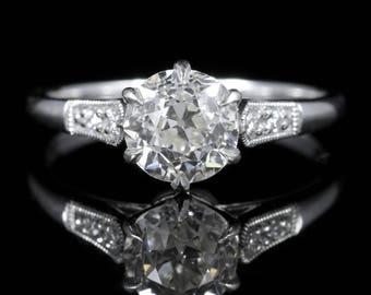 Antique Diamond Solitaire Engagement Ring 1.50ct Diamond Vvs1
