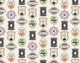Cream Badge Quilt Fabric, Eek Boo Shriek Fabric Yardage, Riley Blake Designs, Fabric by the Yard