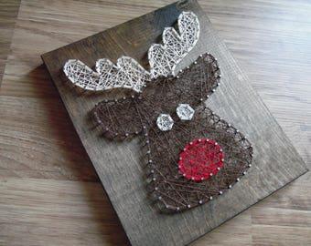 Reindeer String Art, Christmas String Art, Winter String Art, Santa String Art, Christmas wall art, Christmas decor, Christmas wall decor