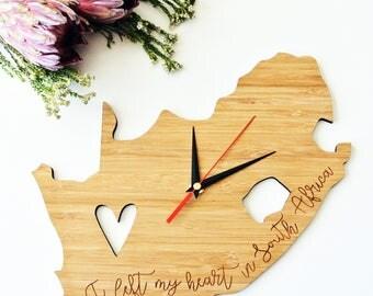 I Left My Heart in SA Bamboo Clock