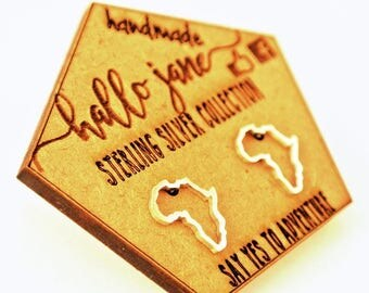 Sterling Silver Africa Outline Studs